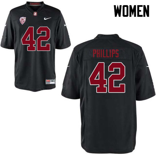 Women #42 Caleb Phillips Stanford Cardinal College Football Jerseys Sale-Black
