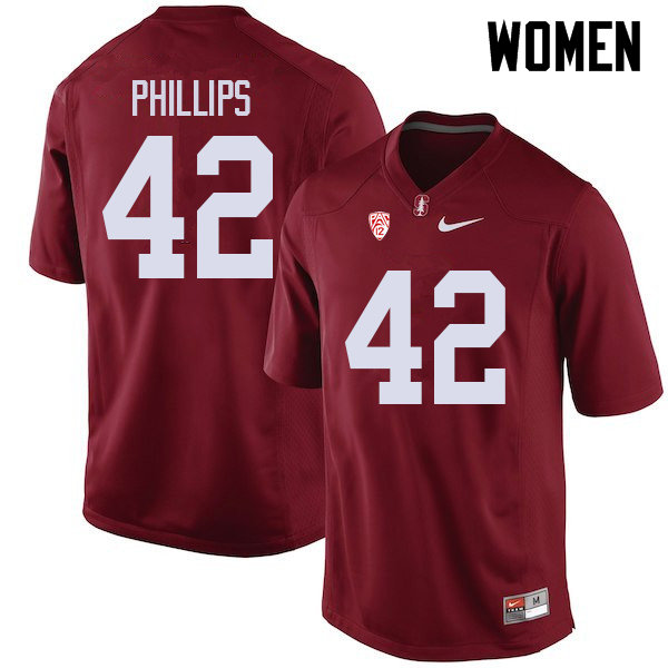 Women #42 Caleb Phillips Stanford Cardinal College Football Jerseys Sale-Cardinal