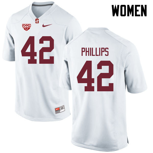 Women #42 Caleb Phillips Stanford Cardinal College Football Jerseys Sale-White