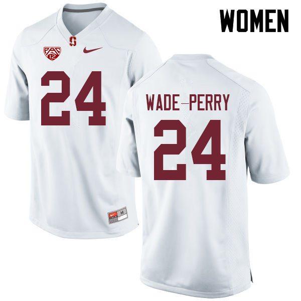 Women #24 Dalyn Wade-Perry Stanford Cardinal College Football Jerseys Sale-White