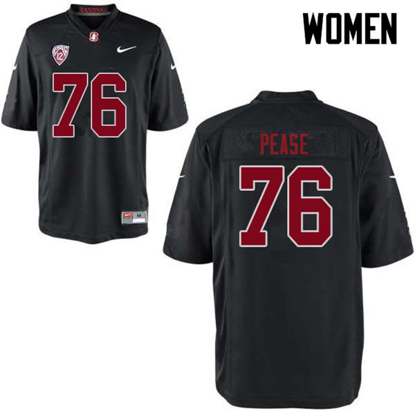 Women #76 Grant Pease Stanford Cardinal College Football Jerseys Sale-Black