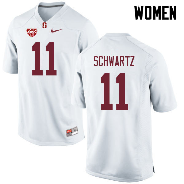 Women #11 Harry Schwartz Stanford Cardinal College Football Jerseys Sale-White