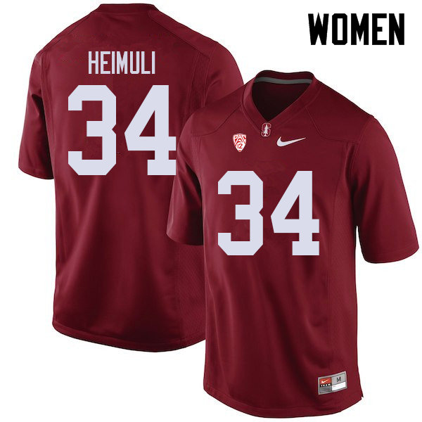 Women #34 Houston Heimuli Stanford Cardinal College Football Jerseys Sale-Cardinal