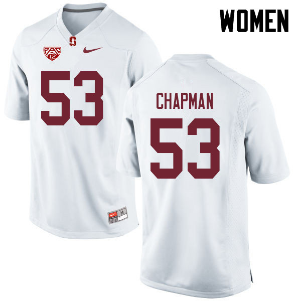 Women #53 Jack Chapman Stanford Cardinal College Football Jerseys Sale-White