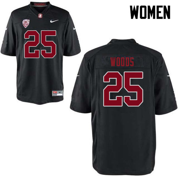 Women #25 Justus Woods Stanford Cardinal College Football Jerseys Sale-Black