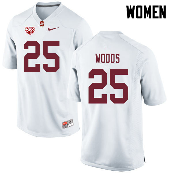 Women #25 Justus Woods Stanford Cardinal College Football Jerseys Sale-White
