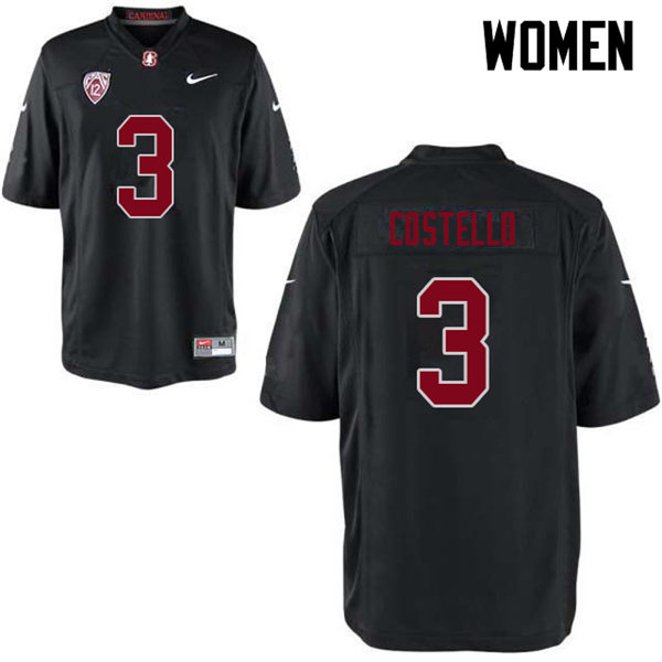 Women #3 K.J. Costello Stanford Cardinal College Football Jerseys Sale-Black
