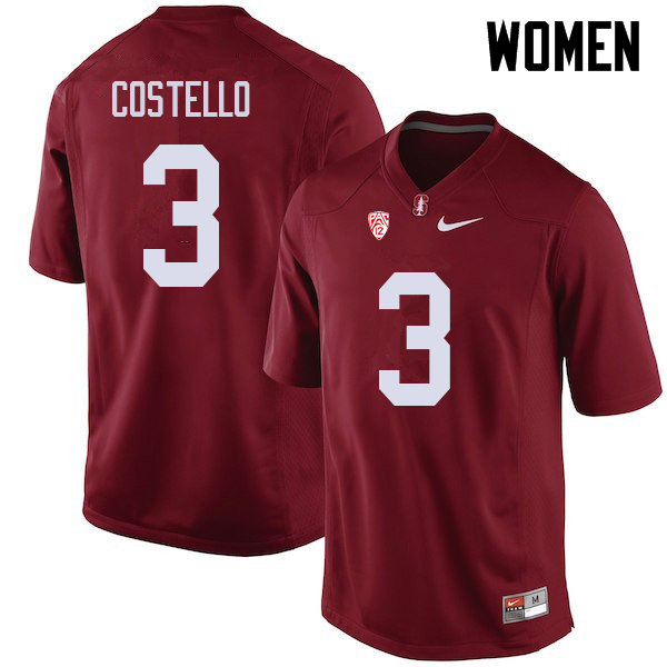 Women #3 K.J. Costello Stanford Cardinal College Football Jerseys Sale-Cardinal