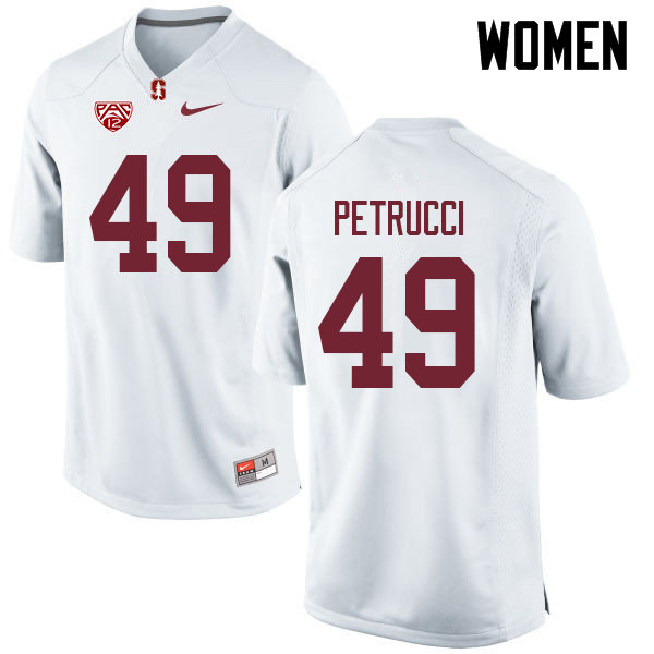 Women #49 Kyle Petrucci Stanford Cardinal College Football Jerseys Sale-White