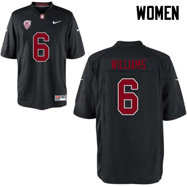 Women #6 Reagan Williams Stanford Cardinal College Football Jerseys Sale-Black
