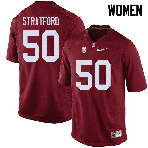 Women #50 Trey Stratford Stanford Cardinal College Football Jerseys Sale-Cardinal