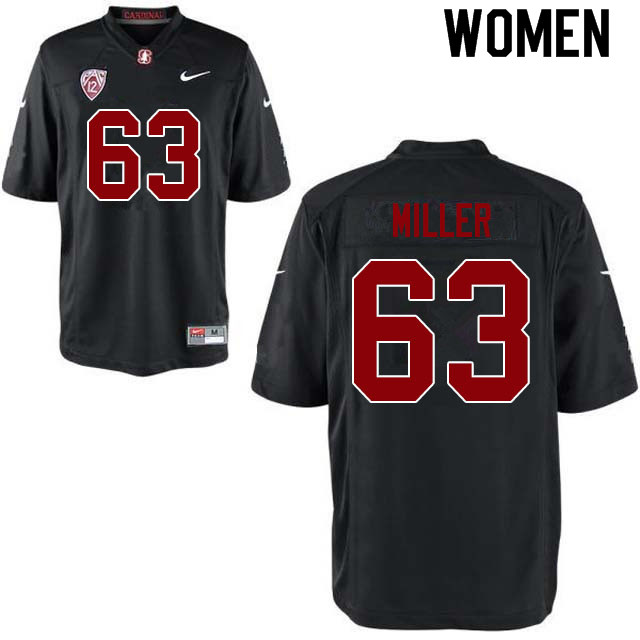 Women #63 Barrett Miller Stanford Cardinal College Football Jerseys Sale-Black