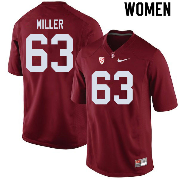 Women #63 Barrett Miller Stanford Cardinal College Football Jerseys Sale-Cardinal