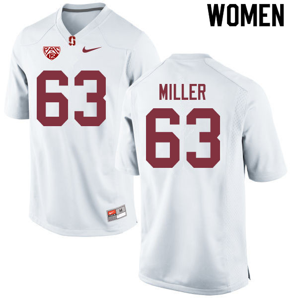 Women #63 Barrett Miller Stanford Cardinal College Football Jerseys Sale-White