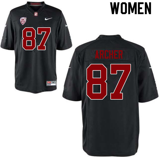 Women #87 Bradley Archer Stanford Cardinal College Football Jerseys Sale-Black