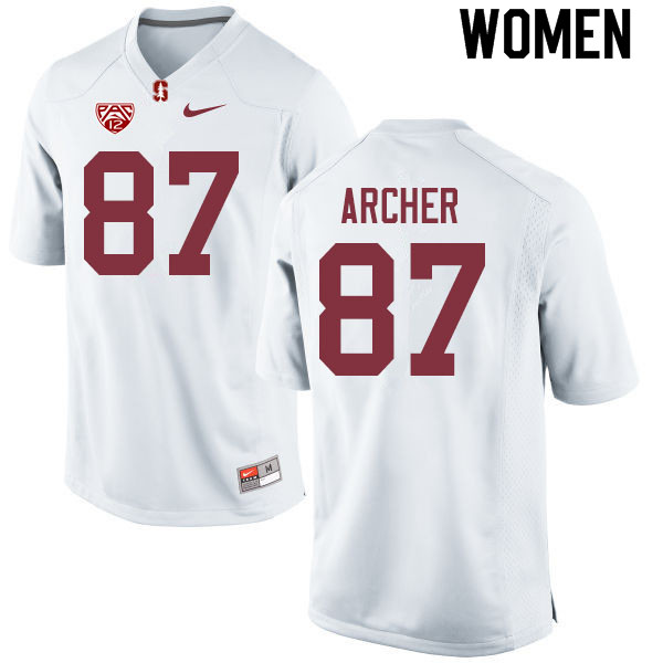 Women #87 Bradley Archer Stanford Cardinal College Football Jerseys Sale-White
