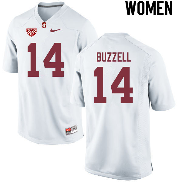 Women #14 Cameron Buzzell Stanford Cardinal College Football Jerseys Sale-White