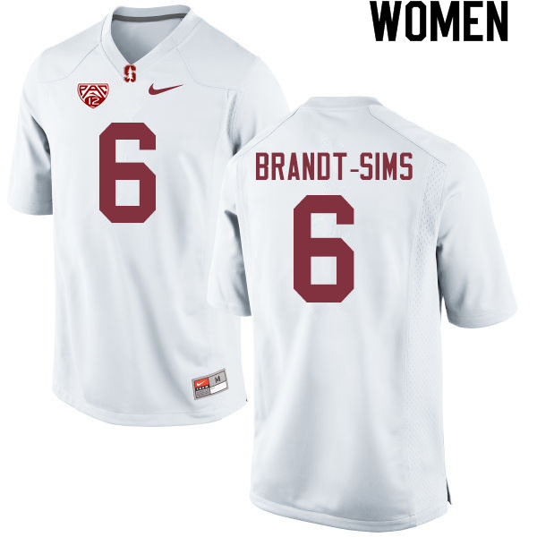 Women #6 Isaiah Brandt-Sims Stanford Cardinal College Football Jerseys Sale-White
