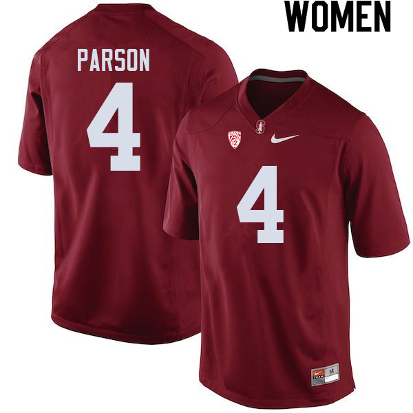 Women #4 J.J. Parson Stanford Cardinal College Football Jerseys Sale-Cardinal