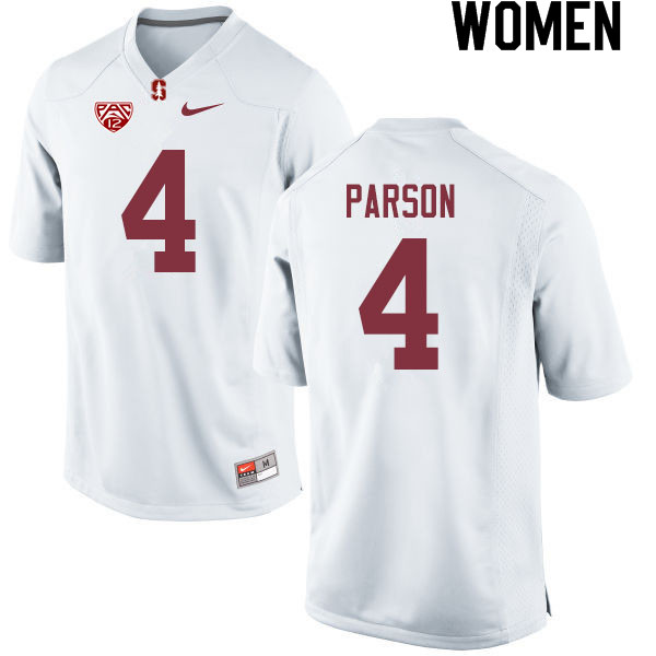 Women #4 J.J. Parson Stanford Cardinal College Football Jerseys Sale-White