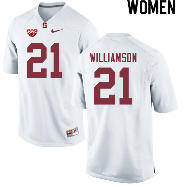 Women #21 Kendall Williamson Stanford Cardinal College Football Jerseys Sale-White