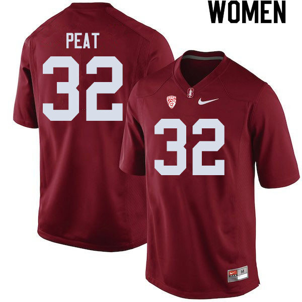 Women #32 Nathaniel Peat Stanford Cardinal College Football Jerseys Sale-Cardinal