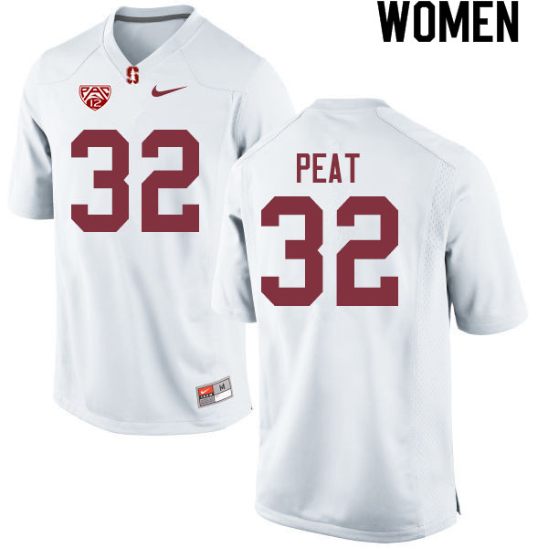 Women #32 Nathaniel Peat Stanford Cardinal College Football Jerseys Sale-White