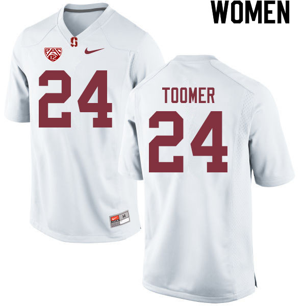 Women #24 Nicolas Toomer Stanford Cardinal College Football Jerseys Sale-White