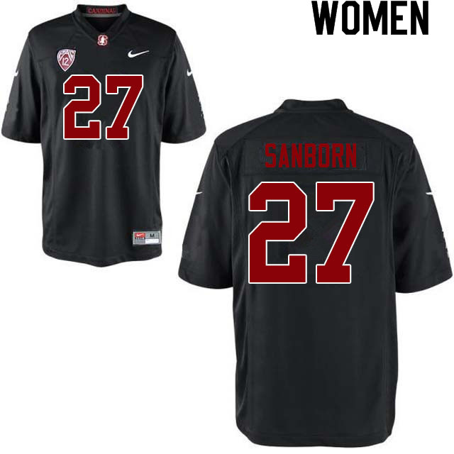 Women #27 Ryan Sanborn Stanford Cardinal College Football Jerseys Sale-Black