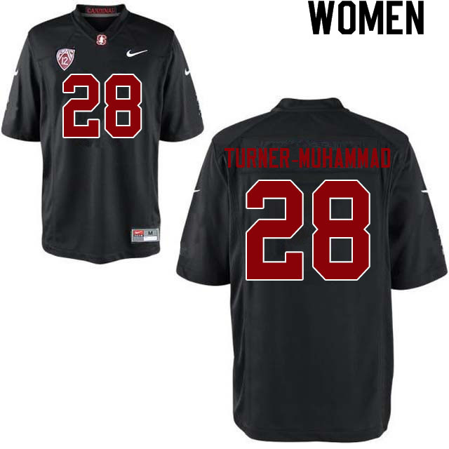 Women #28 Salim Turner-Muhammad Stanford Cardinal College Football Jerseys Sale-Black