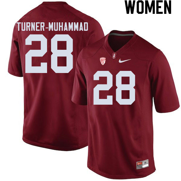Women #28 Salim Turner-Muhammad Stanford Cardinal College Football Jerseys Sale-Cardinal