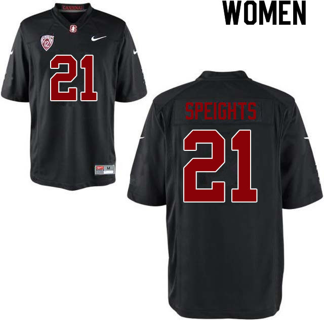 Women #21 Trevor Speights Stanford Cardinal College Football Jerseys Sale-Black