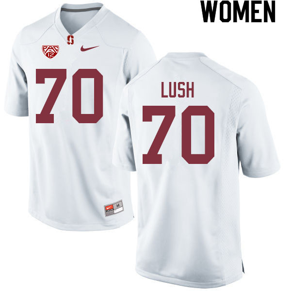 Women #70 Wakely Lush Stanford Cardinal College Football Jerseys Sale-White