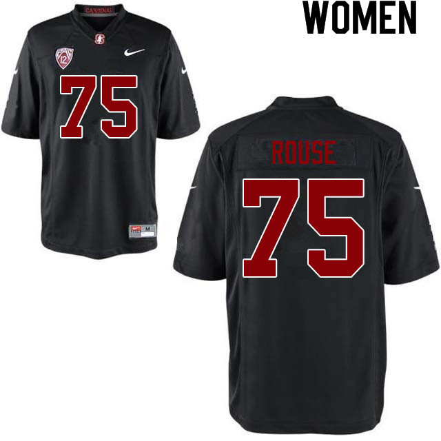 Women #75 Walter Rouse Stanford Cardinal College Football Jerseys Sale-Black