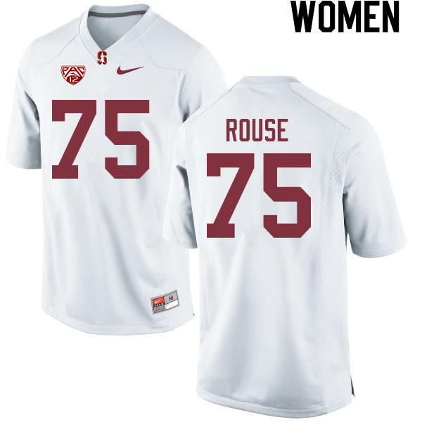Women #75 Walter Rouse Stanford Cardinal College Football Jerseys Sale-White