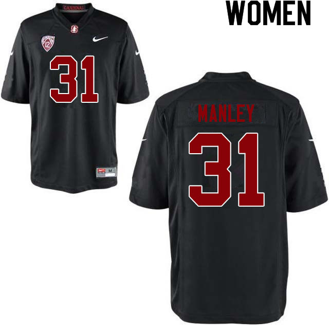 Women #31 Zahran Manley Stanford Cardinal College Football Jerseys Sale-Black