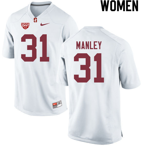 Women #31 Zahran Manley Stanford Cardinal College Football Jerseys Sale-White
