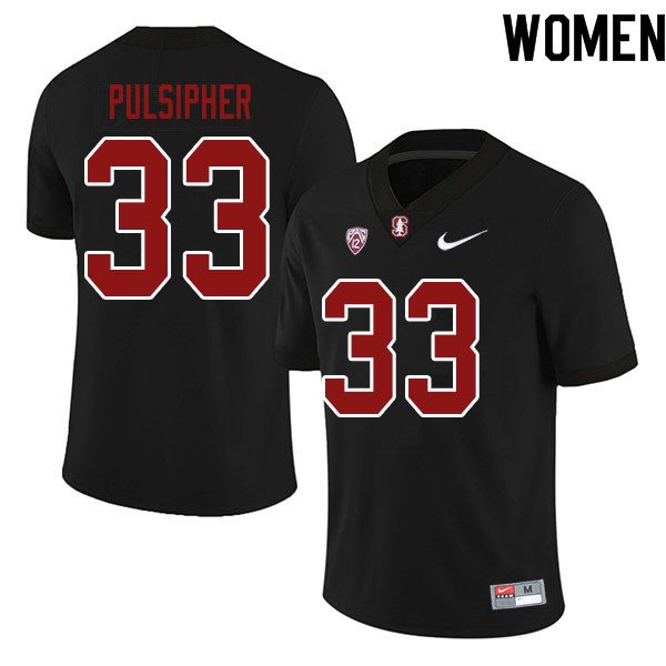 Women #33 Anson Pulsipher Stanford Cardinal College Football Jerseys Sale-Black