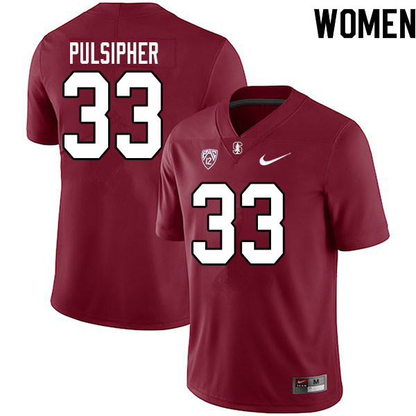 Women #33 Anson Pulsipher Stanford Cardinal College Football Jerseys Sale-Cardinal