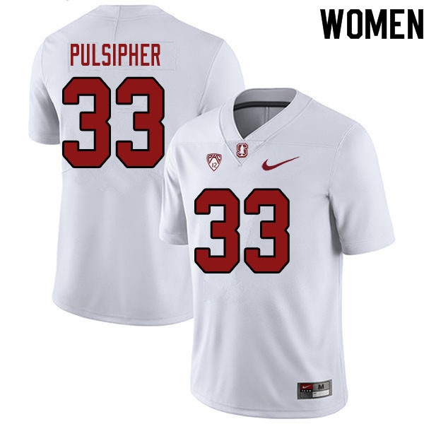 Women #33 Anson Pulsipher Stanford Cardinal College Football Jerseys Sale-White