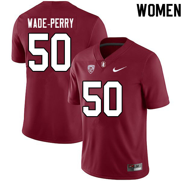 Women #50 Dalyn Wade-Perry Stanford Cardinal College Football Jerseys Sale-Cardinal