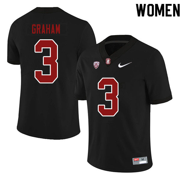 Women #3 Marcus Graham Stanford Cardinal College Football Jerseys Sale-Black