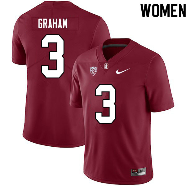 Women #3 Marcus Graham Stanford Cardinal College Football Jerseys Sale-Cardinal