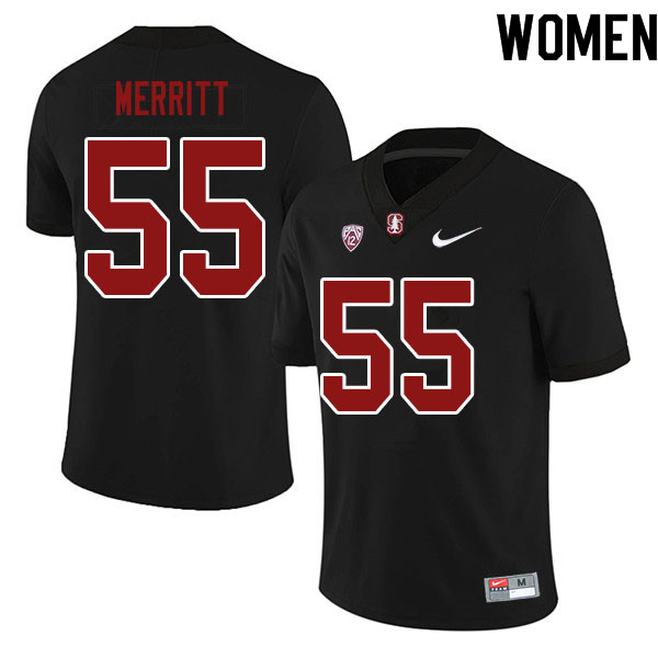 Women #55 Matthew Merritt Stanford Cardinal College Football Jerseys Sale-Black