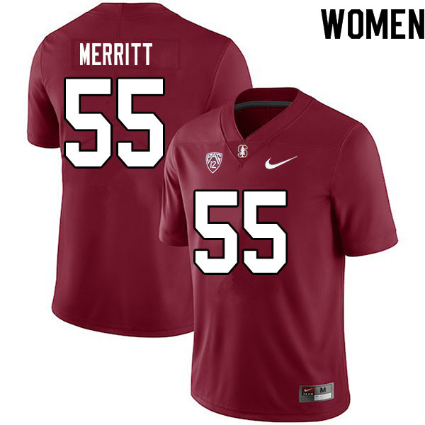 Women #55 Matthew Merritt Stanford Cardinal College Football Jerseys Sale-Cardinal
