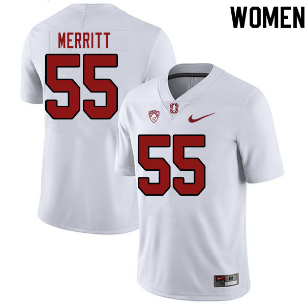 Women #55 Matthew Merritt Stanford Cardinal College Football Jerseys Sale-White