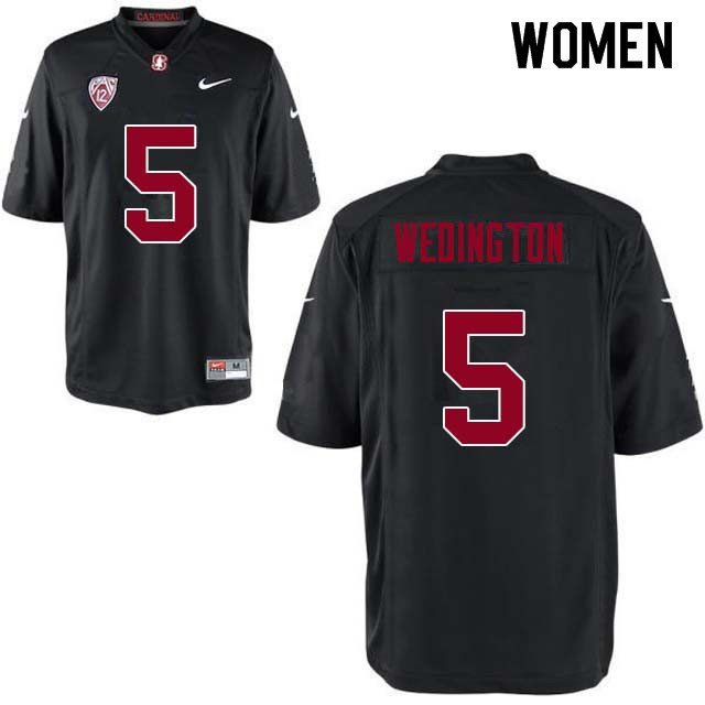 Women Stanford Cardinal #5 Connor Wedington College Football Jerseys Sale-Black