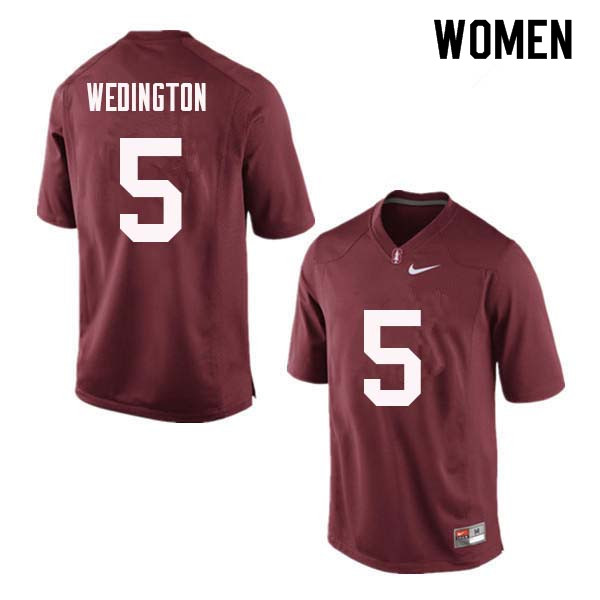 Women Stanford Cardinal #5 Connor Wedington College Football Jerseys Sale-Red