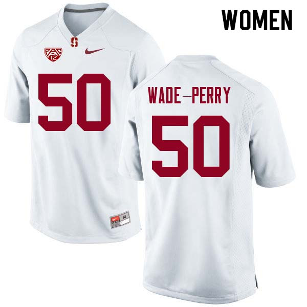 Women Stanford Cardinal #50 Dalyn Wade-Perry College Football Jerseys Sale-White