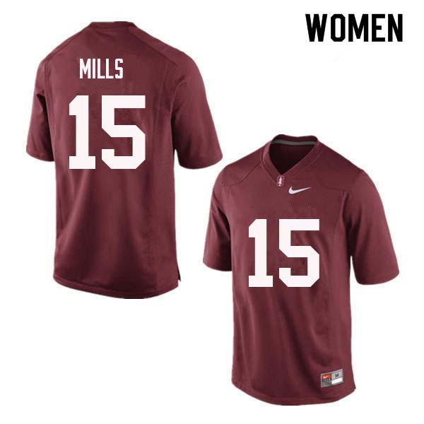 Women Stanford Cardinal #15 David Mills College Football Jerseys Sale-Red